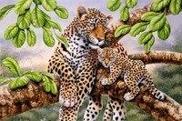Art Portrait Leopard Resting Hand Painted Crafts Diamond Souvenir Mosaic Diy Living Room Cross Stitch Gift