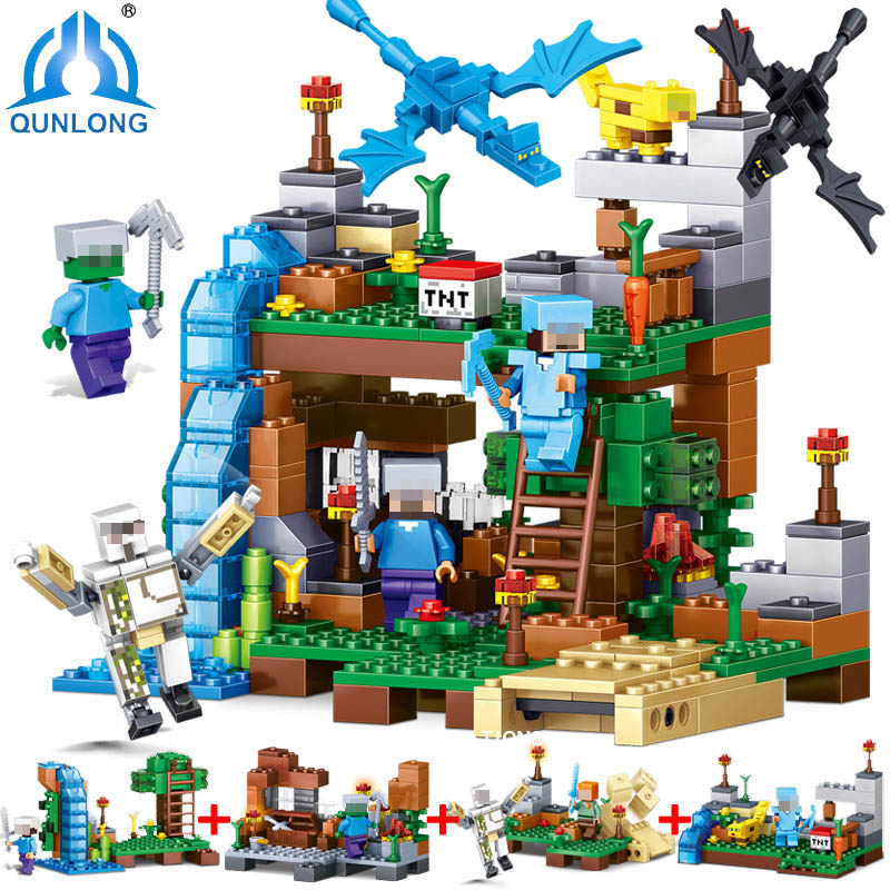 Qunlong Toys Minecraft Figures Building Blocks 4 in 1 My World Garden Educational Children Toys Compatible Legoe Minecraft City qunlong 0521 my world volcano mine building blocks toy compatible legoe minecraft building block city educational boys toy gift