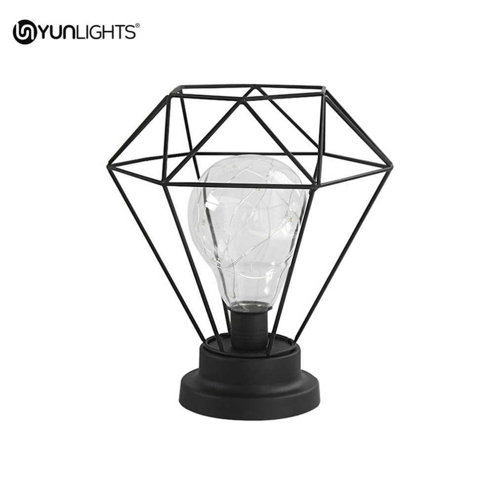 Battery Operated Edison Bulb Lamp: YUNLIGHTS Edison Style Metal Terrarium Lamp Warm White