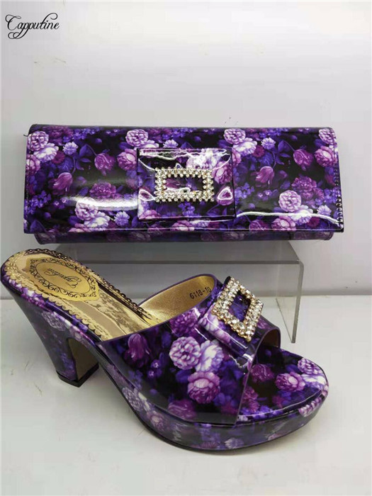 Graceful purple with flower print high heel shoes and evening bag set fashion pumps with handbag for party GY18 heel height 8cmGraceful purple with flower print high heel shoes and evening bag set fashion pumps with handbag for party GY18 heel height 8cm