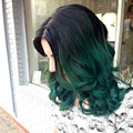 Fashion ombre short wavy wig for women green short body wave lace front hair wigs dark root heat resistant fiber synthetic wigs