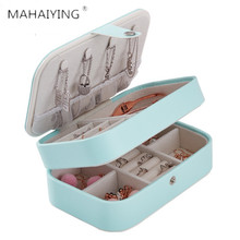 New Creative Jewelry Storage Box Pu Leather Double Layers Small Portable Promotion