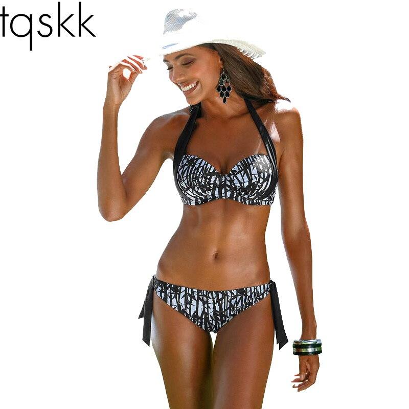 TQSKK 2019 New Sexy Bikinis Women Swimsuit Push Up Halter Top Bikini Set  Plus Size Beachwear Bathing Suit Biquini Swimwear 2XL