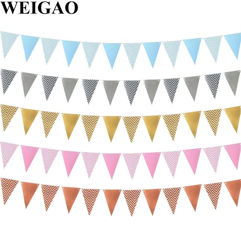 WEIGAO золотые настенные подвесные гирлянды в полоску для баннеров на первый день рождения, вечерние гирлянды для мальчиков и девочек для детс...