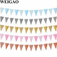 WEIGAO-pancarta de pared a rayas doradas, guirnaldas colgantes para primer cumpleaños, niña, fiesta, Baby Shower 1st 2nd 3rd, banderines