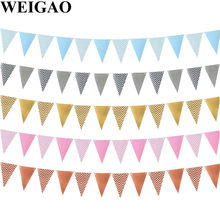 WEIGAO Oro A Strisce Bunting Banner Wall Hanging Ghirlande per la Prima Di Compleanno Della Ragazza Del Ragazzo Partito Baby Shower 1st 2nd 3rd Bunting bandiera