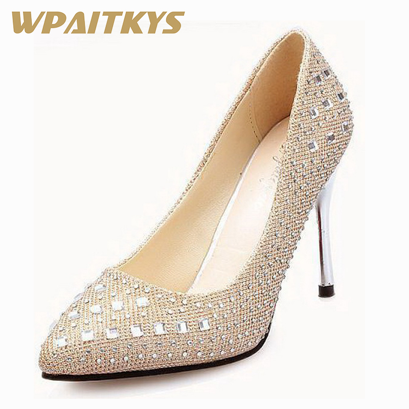 Exquisite Crystal High heeled Shoes Woman Silver Golden Black Red Fashion Rhinestone Decoration Women Shoes Wedding Banquet