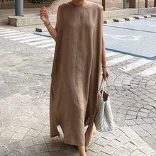 Japan Style Elegant Casual Boho Plus Size Vintage Women Long Dresses Straight Plain Split Black Female Khaki Beach Maxi Dress