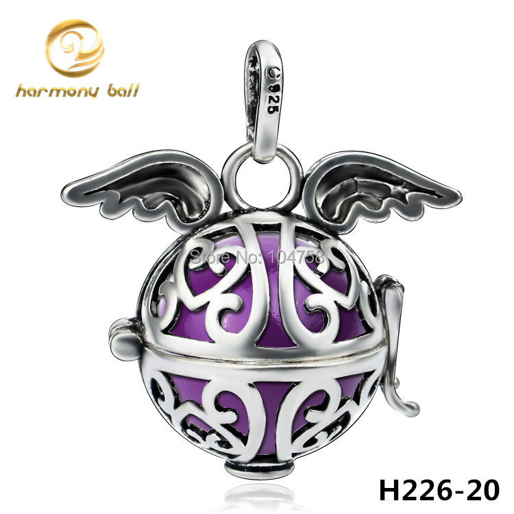 Floating Charms H226 20 Fashion Design Copper Angel Wings Cage Pendant with Multicolor Harmony Ball Pendant