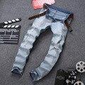 Hombres Vintage Ripped Skinny Jeans Tobillo Con Cremallera Diseñador Hip Hop Washed Apenada Destroyed Denim Pantalones De Hipster
