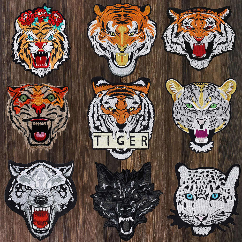 Leopard Tiger Wolf Embroidery Iron On Patches for Clothing Applique DIY Hat Coat Dress Accessories Cloth Animal Sticker TH802