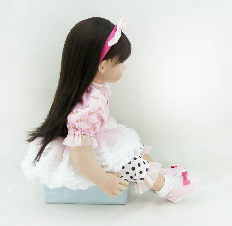 60cm Silicone Vinyl Reborn Baby Doll Girl Brinquedos Lifelike Baby-reborn Kawaii Princess Toy Child Kids Birthday Gifts
