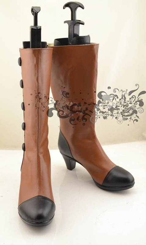 Black Butler Kuroshitsuji Элизабет Косплэй обувь для вечеринок коричневого цвета Бесплатная доставка