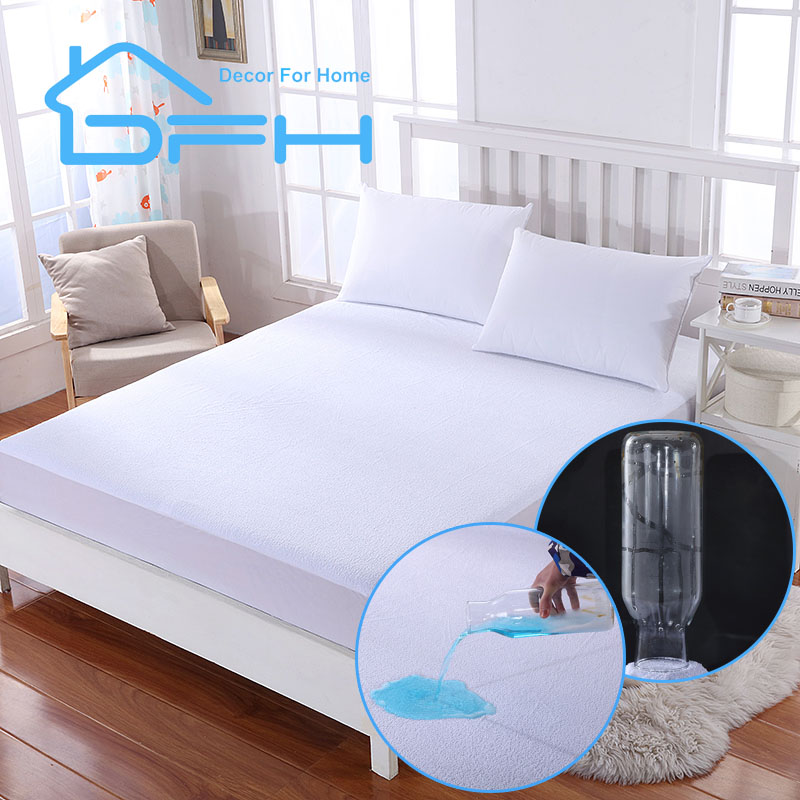 DFHTwin Full Queen King Size Terry Waterproof Mattress Cover Protector For Bed Wetting And Bed Bug Fit For USA Mattress Size