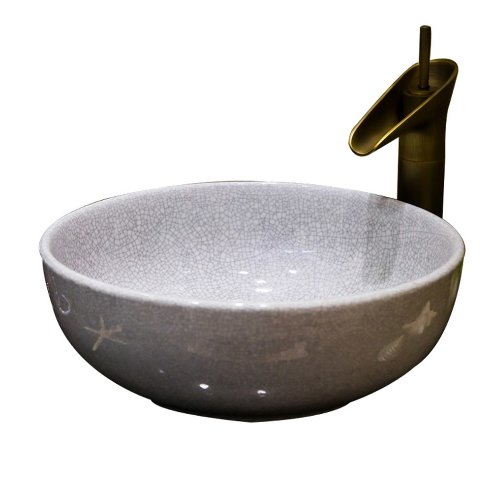 A1 Ice cracked glaze wash basin ceramic above counter basin wash basin washbasin art basin open LO622427 a1 marble ceramic art basin washbasin bathroom wash basin without water faucet lo613218