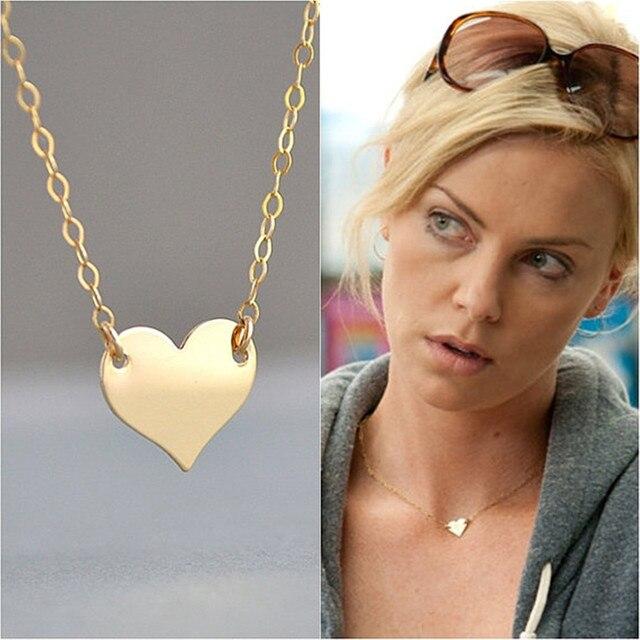 Gold heart necklace celebrity necklace minimal pendant necklace gold heart necklace celebrity necklace minimal pendant necklaceappoinment wedding choker collares aloadofball Images