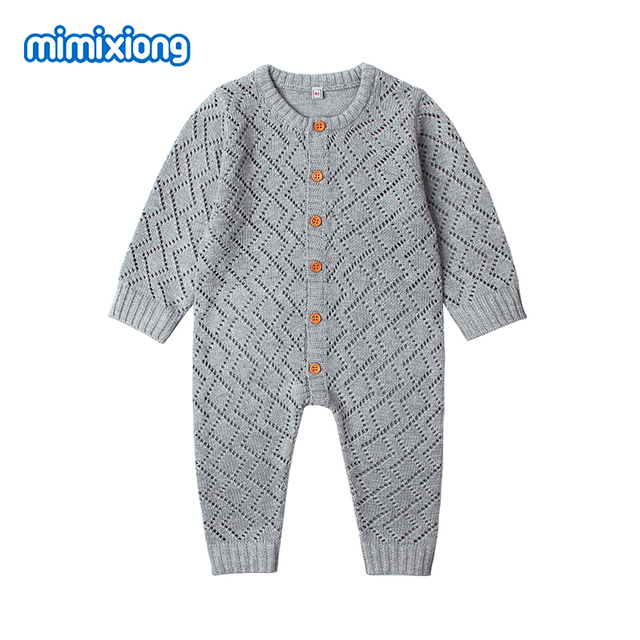 d8dc0419b8be Newborn Rompers Spring Long Sleeve Toddler Girls Overalls Autumn Candy  Color Infant Boys Jumpsuits Children Knit Outfits Clothes