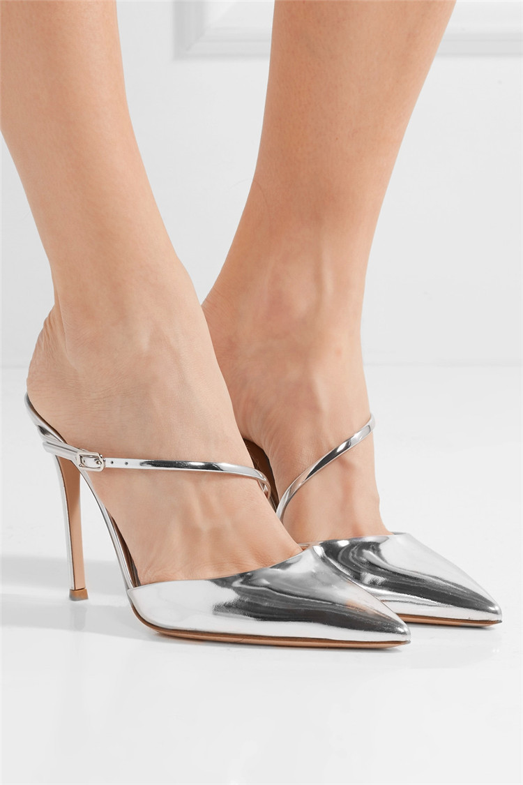 Akamatsu Silver Patent Leather Cross Design High Heels Mules Pointed Toe Slip On Women Shoes Summer Party Dress Pumps