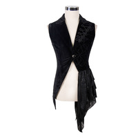 Steampunk Sleeveless Man Coats And Jackets Gothic Flower Vest Men Asymmetric Waistcoat Winter Sleeveless Jacket Formal Dress