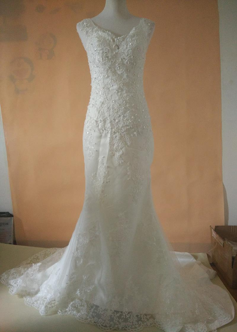 Mermaid wedding dress 2017 lace beading bridal gowns sweep for Plus size vintage wedding dresses