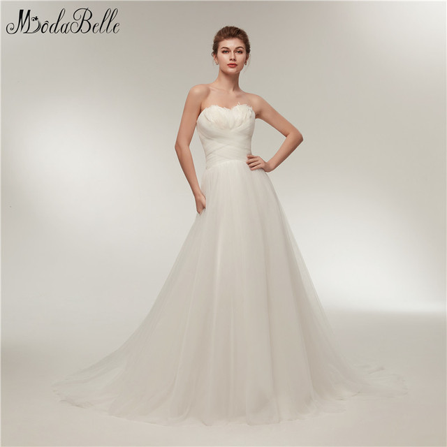 Modabelle Vintage Sweetheart Wedding Dress Feathers Simple white ...