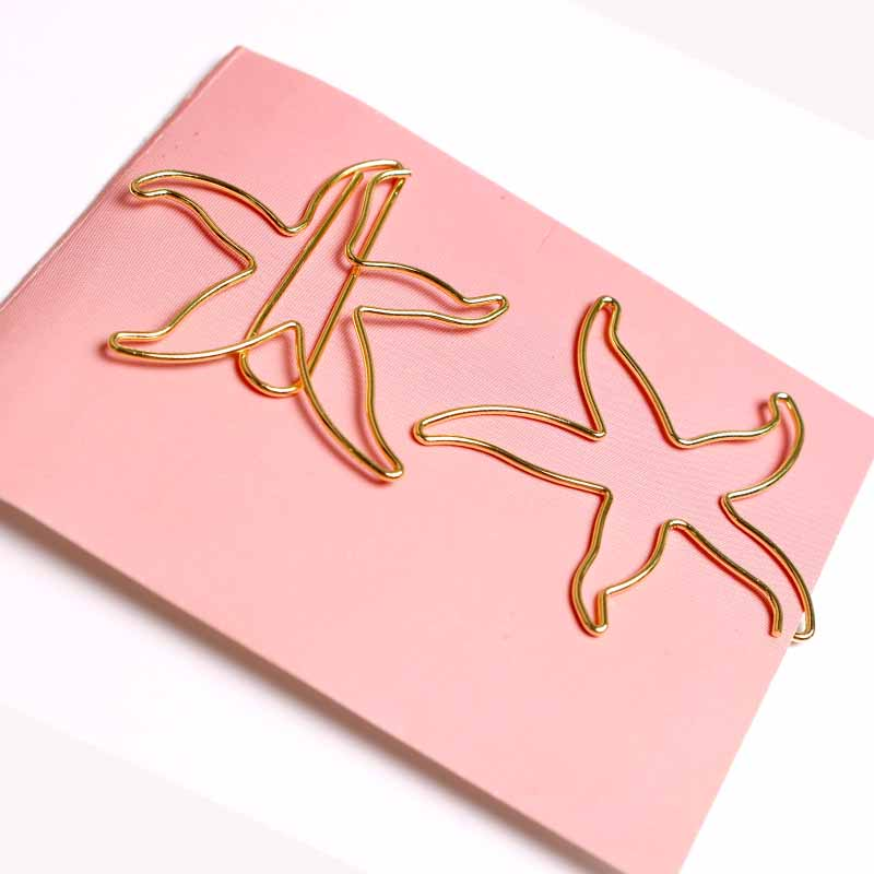 New Starfish Paper Clip Lovely Creative Color Plating Paper Clips Gold Office Clip Paperclips Metal Stationary Gold Paper Clips