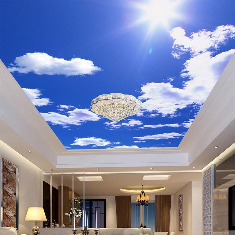 Blue Sky White Clouds Photo Wallpaper Custom Ceiling Mural Hotel Dining Room Living Room Frescoes Home Decor Papel De Parede 3D