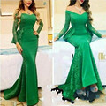 2017 Green Lace Mermaid Saudi Arabia Evening Dresses Elegant Long Sleeve Peplum V Neck Formal Celebrity Party Dress Floor Length