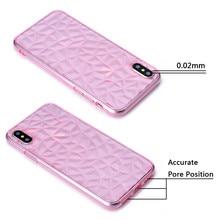 10pcs a Lot 3D Diamond Grain Crystal Texture Phone Case for iPhone X Soft Silicone TPU For 6 6S 7 8 Plus 6Plus 7Plus