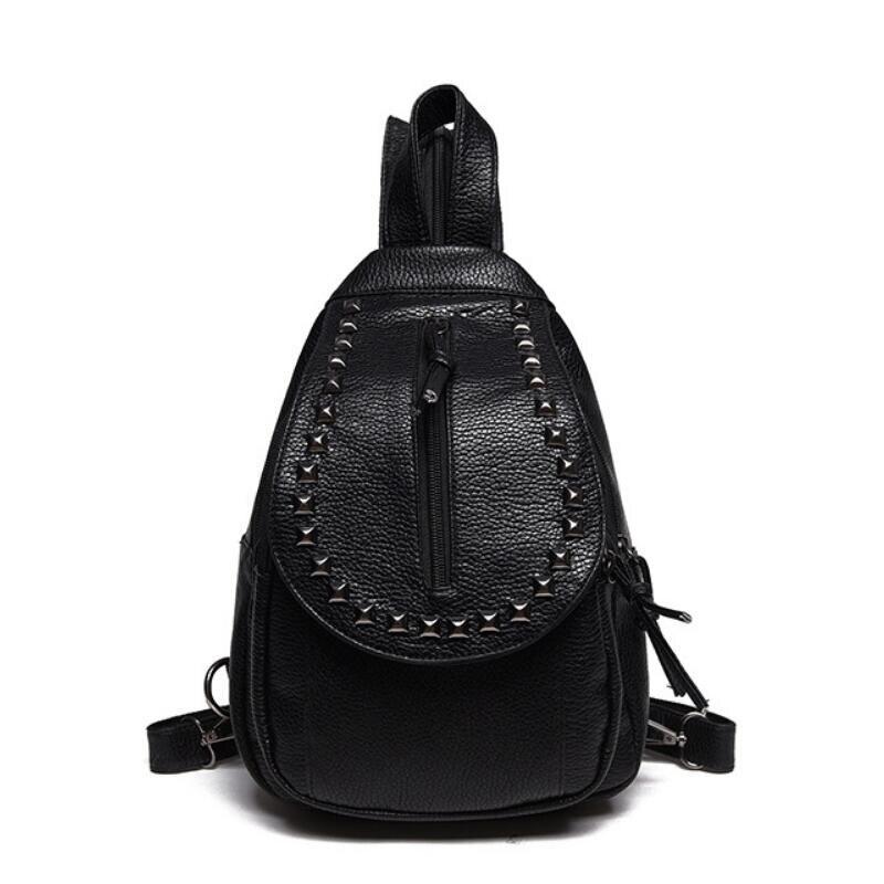 Fashion Women Waterproof PU Leather Rivet Backpack Women s Backpacks for Teenage Girls Ladies Bags with