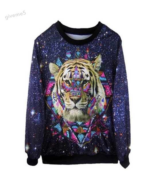 0edfb3ec6865 2017 Thicken Free Shipping men women 3D Sweaters Long sleeve Galaxy hoodies  Pullovers lady tiger animal 3D sweatshirt 35
