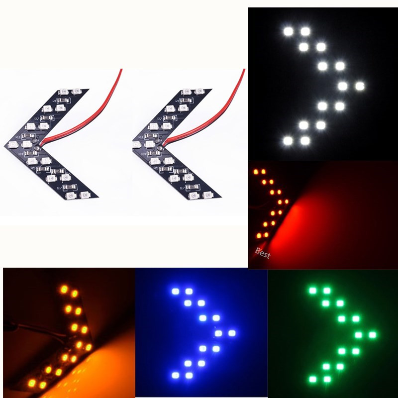 2 Pcslot 14 SMD LED Arrow Panel For Car Rear View Mirror Indicator Side Turn Signal Light Car LED Rearview Mirror Parking Light