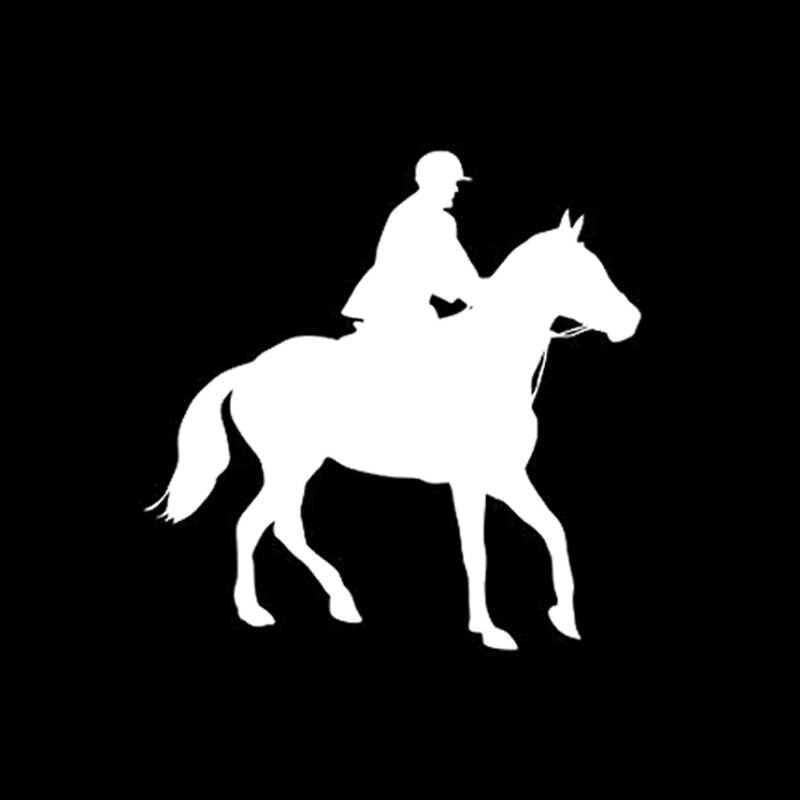 QYPF 13.8*13.8 CM Ilginç Atlı Spor Dekor Araba Styling Sticker Aksesuarları Siluet Motosiklet Çıkartmaları C16-0907
