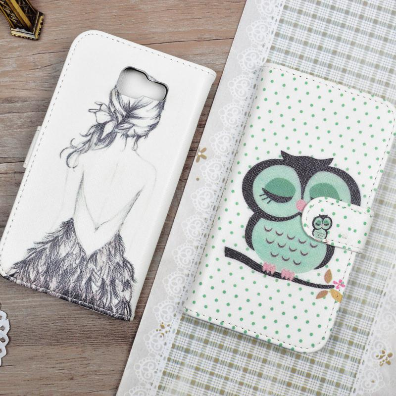 Leather Cover For Samsung Galaxy A5 2016 SM-A510F A510F A510M Filp Wallet Cartoon Pattern Cover Phone Bags&Cases