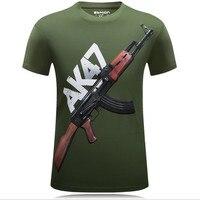 Мужская футболка с 3D принтом AK 47 Gun, Повседневная хлопковая футболка с короткими рукавами и круглым вырезом в стиле панк, 5XL 6XL, лето 2019
