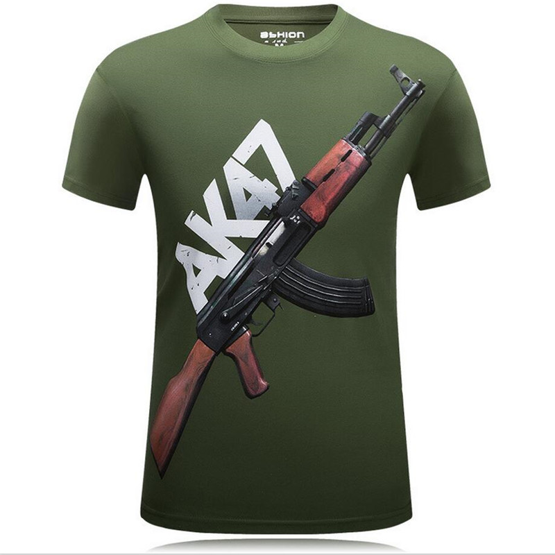 New 2018 Summer 3D   T  -  Shirts   Men Printed AK 47 Gun Funny Tops Casual Short sleeve   T     Shirt   Cotton O-Neck Male Punk Tees 5XL 6XL
