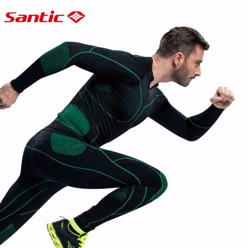 Santic Men Sport Thermal Sports Compression Underwear Tight Fit Cycling Base Layer Mtb Downhill Long Compression Wear for Men wosawe 2017 winter men women thermal cycling base layer compression mountain bike warmer underwear long sleeve cycling jersey page 1