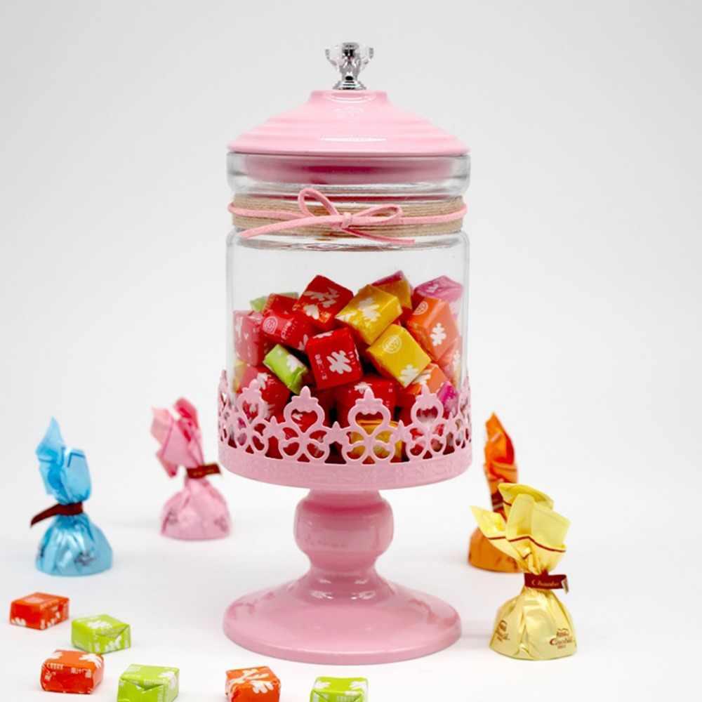 علب للحلوى الزجاج الشفاف جرة المنزل الحلوى زجاجات الغبار والدليل على حامل الشاي فندق الزفاف الحلوى تخزين علب فتاة هدية صندوق زجاجي