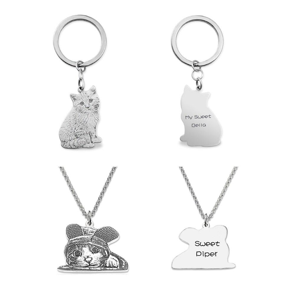 Sweey Dropshipping personalizado Pet foto collar y llavero grabado Pet foto  Memorable regalos para