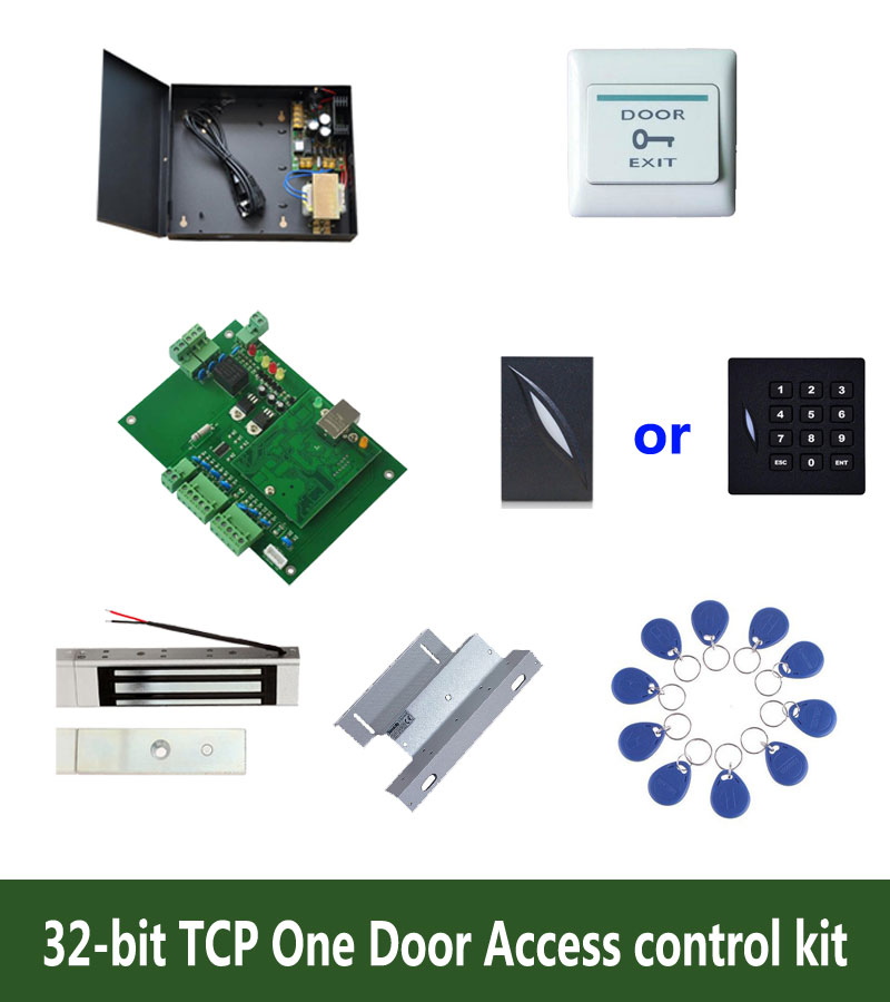 32-bit access control kit,TCP one door access control+powercase+180kg magnetit lock+ZL-bracket+ID reader+button+10 tag,kit-T105