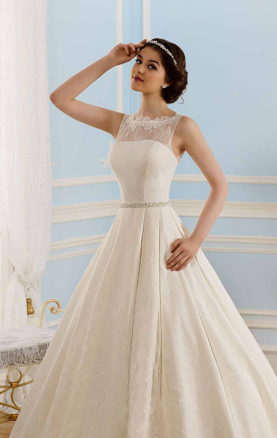 Free Shipping WD 1414 Keyhole Back Lace Over Satin Ball Gown Cinderella Wedding Dress Princess Cut Sale In Dresses From Weddings