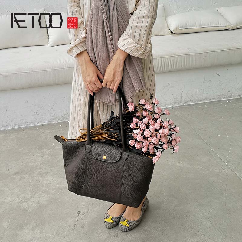 3bf752f3bfcd AETOO New first layer cowhide portable dumplings bag wild casual soft leather  shoulder bag large capacity