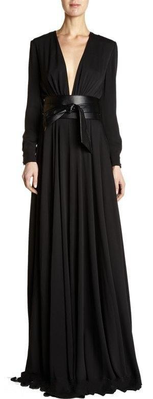 Deep Low Cut Arabic Evening Dress Empire Belt Black Chiffon Ruffles Abaya Long Sleeve Muslim Evening Gowns