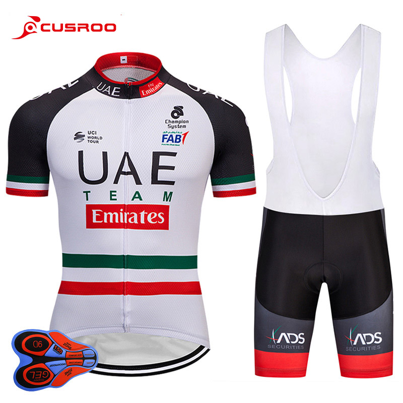 2018 Team UAE cycling jersey mens summer bicycling Maillot wear 9D gel pad bike shorts set MTB Ropa Ciclismo BIB SHORT JERSEY