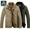 NIANJEEP Brand Men cotton padded jacket Winter Thick Velvet Men Cotton Parka Army Green Khaki Warm Coat 6803