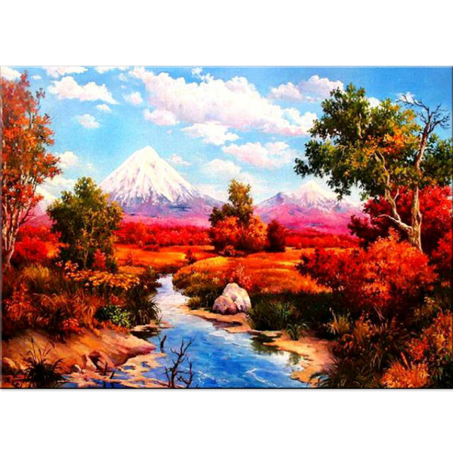 5D Autumn Creek Field Diamond Painting Landscape Arts Crafts Hobby Decoration Round Homl ...