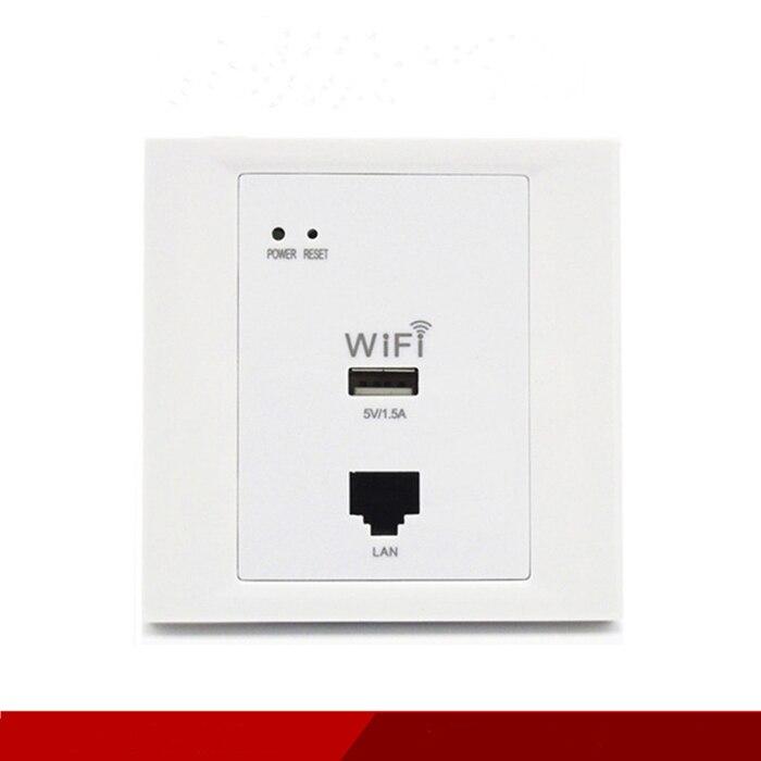 Nouvelle prise réseau WiFi 86 prise murale Wi-Fi sans fil AP routeur USB dans la prise murale
