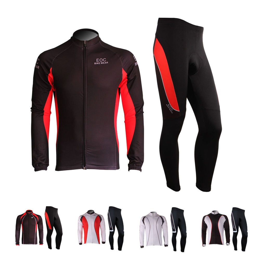 New Fleece Thermal Cycling Long Sleeve Jersey Tights Padded Bike Bicycle Kits 6 Color wosawe men long sleeve cycling jersey 4d gel padded tights