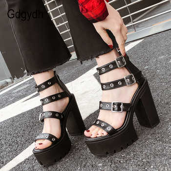 Gdgydh Square Heel Sandals Black Women Summer Shoes Sexy Rivets Ladies High Heels Shoes For Party Soft Leather Drop Shipping