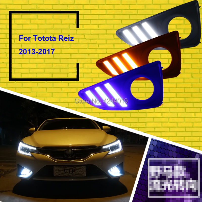 Fits 2013-2017 Toyota Mark X Fog Lights Fog Lamps LED Driving Light DRL Day Light Daytime Running Lights Yellow Turn Signal tcart drl headlights with turn signal lights for ford mondeo 2013 2016 daytime running light auto led day driving fog lamp